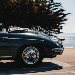 Old Porsche 356 at the beach