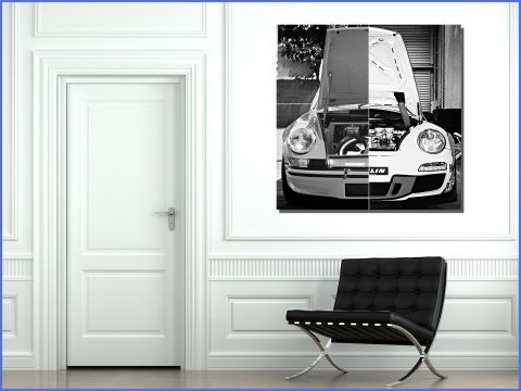 Porsche Wall Print - Cars and Roses