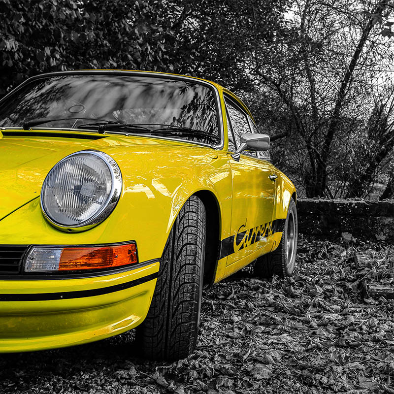 Yellow Carrera RS Porsche Photograph
