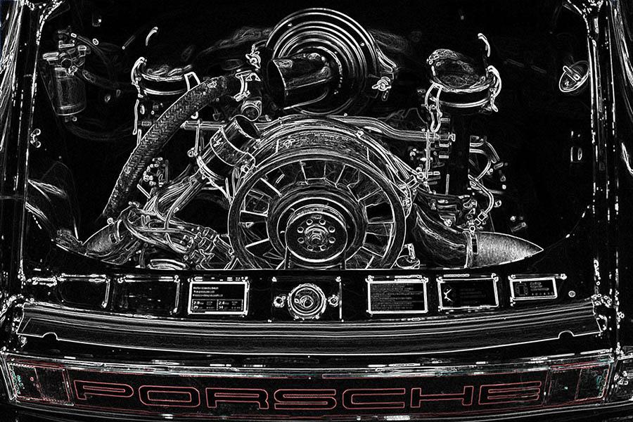Photo Print Engine Porsche Art